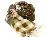 Small Polka Dots brown wool scarf with checkered pattern on the border with floral pattern also. Long twisted hanging fringes on the edges. Imported.