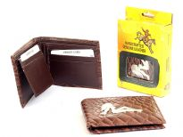 Embossed outer shell genuine leather bi-fold men wallet with solid zinc metal fitting.