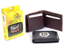 Embossed outer shell Genuine leather bi-fold men wallet with zinc metal fitting.