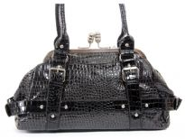 Crocodile embossed PVC double handle bag.
