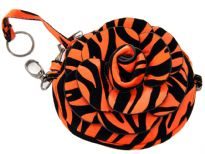 Faux leather zebra print clutch bag has zipper closure and a detachable metal shoulder chain.