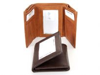 Genuine leather tri-fold men wallet
