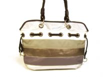 Designer Inspired Multi- Toned Stripes Handbag with single strap and drawstring detail. Zipper closure. Made of faux leather.