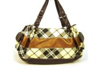 Striped Fashion Handbag in plaid pattern with solid stripes running through it. Side pockets with flap, double shoulder handle & top zipper closure.