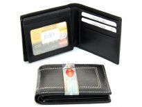 Carry your money in style. This is a genuine leather bifold double bill mens wallet. This wallet features 6 credit card slots, 2 ID windows in the center flap. As this is genuine leather, please be aware that there will be some small creases and nicks in the leather but the wallet are all brand new.