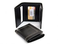 Carry your money in style. This is a double bill genuine leather trifold mens wallet. It features 4 credit card slots, 1 ID Window. As this is genuine leather, please be aware that there will be some small creases and nicks in the leather but the wallet are all brand new.