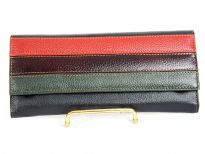 Genuine leather multi stripes ladies wallet