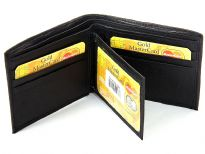 Carry your money in style. This is a genuine lamb skin bi-fold men wallet with removable center flap. Features 6 credit card slots, double bill, bi-fold design. As this is genuine leather, please be aware that there will be some small creases and nicks in the leather but the wallet are all brand new.