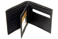 Carry your money in style. This is a genuine leather bifold mens wallet with 6 credit card slots and 2 ID Windows. As this is genuine leather, please be aware that there will be some small creases and nicks in the leather but the wallet are all brand new.