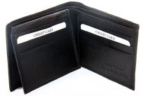 Carry your money in style. This genuine leather wallet has 9 credit card slots. Double bill bifold wallet with left flap. Left flaps reveals one ID window. As this is genuine leather, please be aware that there will be some small creases and nicks in the leather but the wallet are all brand new.