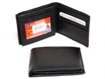 Carry your money in style. This is a genuine leather bifold mens leather wallet with 6 credit card slots and 2 ID windows. As this is genuine leather, please be aware that there will be some small creases and nicks in the leather but the wallet are all brand new.