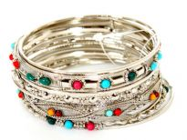 "Metal Bangles Size"" 2/10, (9 PCS Set), Silver Plating,Opak Multi Kundan work, (12 Sets in Box)"