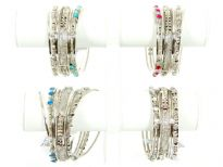 Metal Bangles Size: 2/10, (9 PCS Set), Silver Plating, TR. Kundan work, Colors: Turquoise, Fuchsia, Crystal, Blue