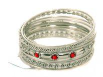 Metal Bangles Size:2/10, (9 PCS Set), Silver/Mat.Silver, Opak Kundan Work