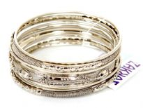 Metal Bangles Size 2/10, (9 PCS set)Silver/Mat Silver, (12 Sets in Box)