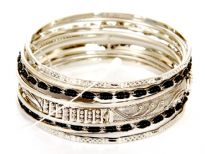 Metal Bangles Size: 2/10, (9 PCS Set) Silver Plating, Black Glass Beads work,(12 Sets in Box)
