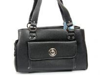 Faux Leather Double Handle Fashion Handbag with Top Zipper closing.
