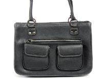 Front Double Pocket Fashion handbag has a top zipper closure and a double handle. Made of faux leather.
