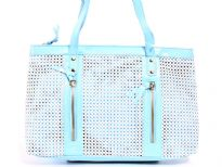 Double Handle PVC Mesh Handbag has a top zipper closing, a double handle and outside zipper details.