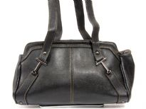 Faux Leather Double Handle Handbag with Top zipper closing..