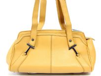 Faux Leather Double Handle Fashion Handbag. Top zipper closing.