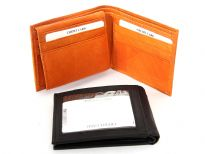 Genuine cow-hide bi-fold men wallet
