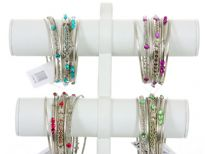 Metal Bangles (7 pieces set) (12 set Box) Colors - Fuchsia, Turquoise, Purple, Parrot Green - 3 each color