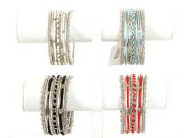 Metal Bangles Size:2/10,(7 PCS set), Silver Plating, Opak Glass Beads, (12 Sets in Box) Colors: Black, Coral Red, Opak Turquoise