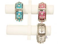 "Metal Folding Bracelet Size: 1 1/4"" Broad, (12 PCS in Box) Silver Color: White, Grey, Turquoise, Pink"