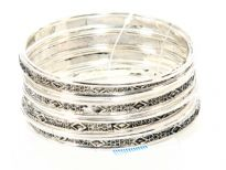 Metal Bangles (12 pieces set) (12 sets in Box), 6 designs Mix, Light Silver Antique/Silver