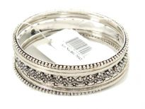 Metal Bangles Size: 2/10, (7 PCS Set) Silver Antique, (12 Sets in Box)