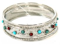 Metal Bangles Size:2/10, (7 PCS Set), Silver Plating, Opak Kundan Work.(12 Sets in Box)