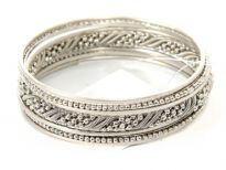 Metal Bangles Size: 2/10 (7 PCS set), Silver/Mat. Silver, (12 Sets in Box)