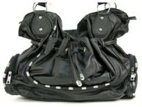 Fashion Handbag has a drawstring closure, a double handle and outside pockets. Made of PVC.
