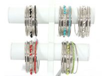 Metal Bangles ( 9 pieces set) (12 pieces Box) Colors - Turquoise, Black, Coral Red, Parrot Green, White