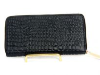 Genuine Leather crocodile embossed all round zipper wallet