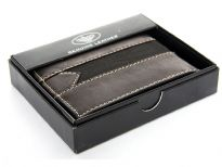 Leather stitch design bi-fold men wallet. The wallet comes with box.