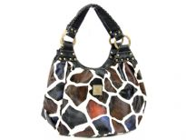 Giraffe Print Hobo Handbag with a short double handle and a zipper closure. Made of faux leather.