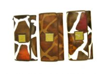 Designer Inspired Giraffe Print check book wallet has a snap closure.