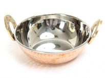 Stainless Steel Double walled hammered copper Balti Dish