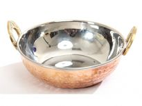 Hammered Copper stainless steel double wall Balti Dish