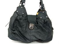 Fashion handbag has a mesh pattern texture, a double handle and a push lock closure. Made of PU (polyurethane).