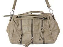 Fashion handbag with short double handle, detachable shoulder strap, top zipper closure, patchwork pattern and zipper details. Made of PU (polyurethane).