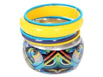 Trendy costume jewelery in Turquoise & Yellow Tone including wide cuff bracelet in artistic print with solid yellow resin bracelet. Four thin bangles with three having satin fabric on them.