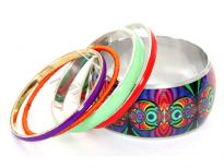 Colorful & Funky five piece bangles set includes one hand painted wide cuff bangle in purple, green, red colors. 3 thin resin bangles in each of above colors with one fabric orange bangle completes this beautiful set.