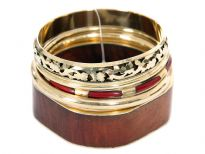 Earthy tones 5 piece fashion bangles set includes square wooden bangle with rounded corners, gold & brown 4 bangles each having its own etched design or is plain. Hand crafted beautifully designed costume jewelery set.