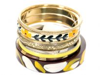 Unique design & attractive 6 piece bangles set has one wooden bangle with abstract painted design, one gold bangle with floral etched design, one ivory bangle with painted floral pattern & 3 thin bangles in gold, yellow, coffee/gold colors each.