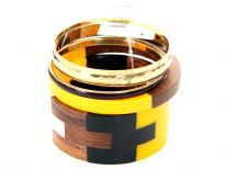 Artistically designed wide cuff bangle in resin & wood in 4 colors included in this 5 piece bangles set. Another yellow & wood colored resin bangle & 3 thin simple bangles in gold/black. This set can  give funky look to nay simple outfit.