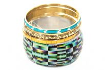 Wide cuff bangle with kaleidoscope like print and three assorted designs/width bangles makes this lightweight & trendy costume bangles set. Yellow & turquoise colored resin bangles and gold colored patterned metal bangle are also part of this set. Imported.