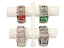 Metal Folding Bracelet, (12 PCS in Box) Silver Plastic/Metal Work. Colors: White, Pink, P.Green, Brown, Grey, Turquoise - 2 PCS each